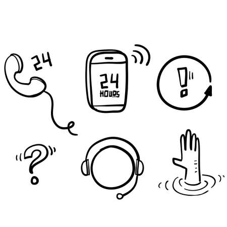hand drawn Simple Set of Help And Support Related Vector Line Icons. with doodle cartoon art style vector