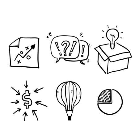 hand drawn Simple Set of Startup Related Vector Line Icons. doodle style vector isolated
