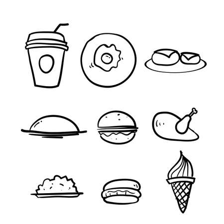 hand drawn Set of Foods, Drinks Related Vector Line Icons in doodle style vector