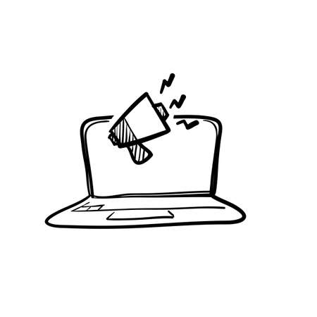 hand drawn doodle laptop and megaphone symbol for digital marketing icon vector. isolated bavkground Иллюстрация
