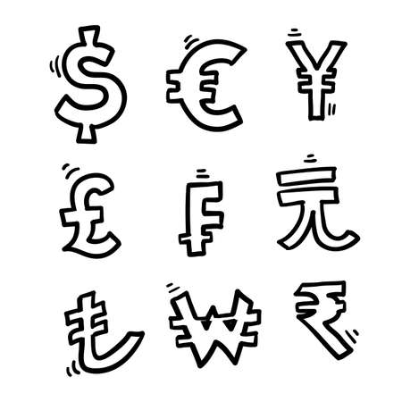 hand drawn doodle currency symbol illustration icon isolated