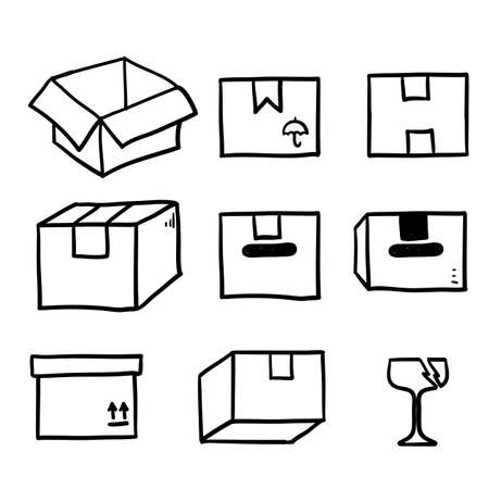 hand drawn shipping box icon illustration set in doodle Иллюстрация