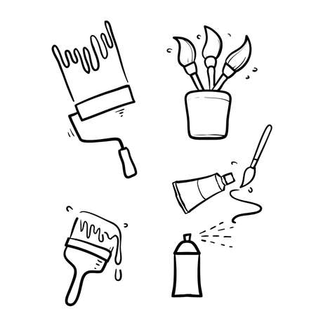 hand drawn doodle Simple Set of Brushes and Painting Related Vector isolated background