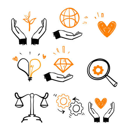 hand drawn doodle Concept of Business Core Values illustration collection vector isolated Vecteurs