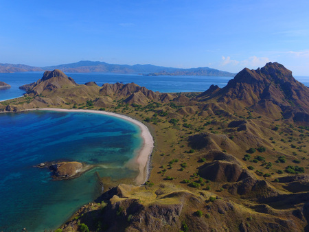 The Aerial View of Padar Island Indonesia 스톡 콘텐츠