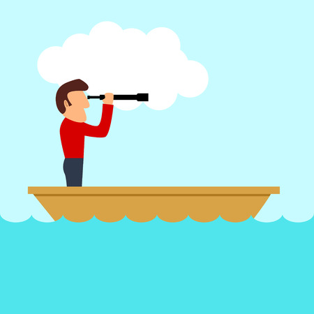 Simple cartoon of a man on a boat using telescope Vector