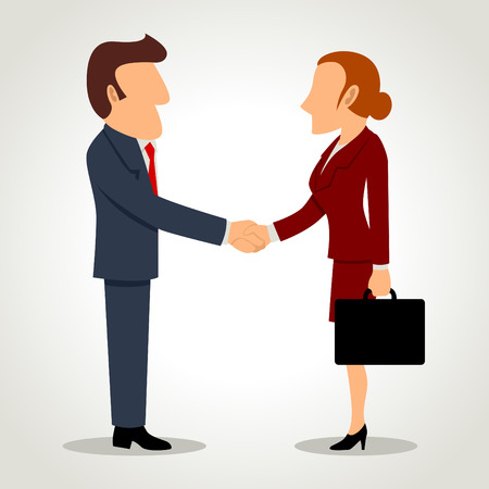 acquisitions: Simple cartoon of businessman and businesswoman shaking hands