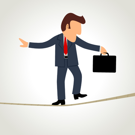 Simple cartoon of a businessman walking on rope