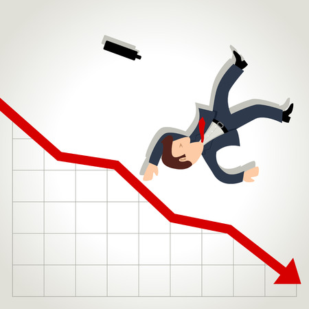 Simple cartoon of a businessman falling down from graphic chart 向量圖像