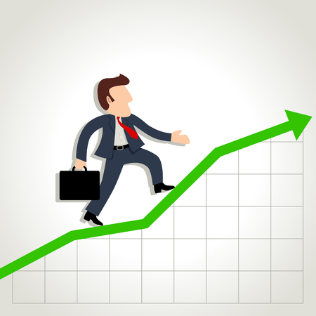 Simple cartoon of a businessman on graphic chart