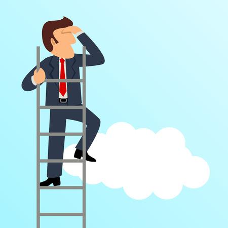Simple cartoon of a businessman get a better view on a ladder
