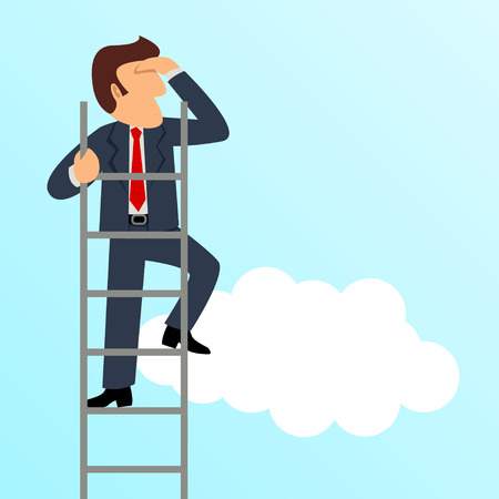 Simple cartoon of a businessman get a better view on a ladder