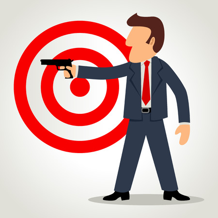 analogy: Simple cartoon of a businessman holding a gun with target symbol as the background