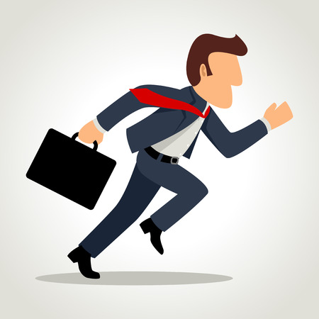 run: Simple cartoon of a businessman running Illustration
