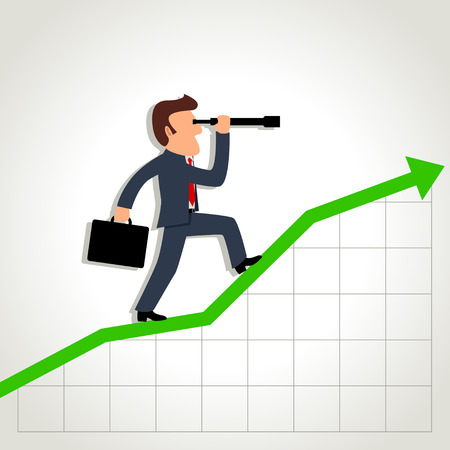 Simple cartoon of a businessman using a telescope on graphic chart