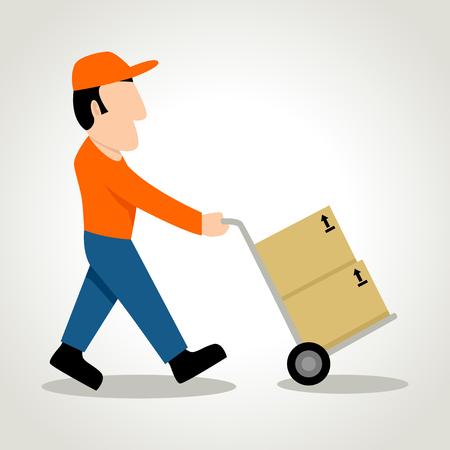 Simple cartoon of a man figure using a trolley Vector