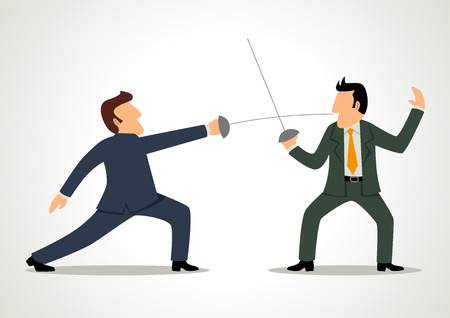 Simple cartoon of two businessmen fencing with each other Vector
