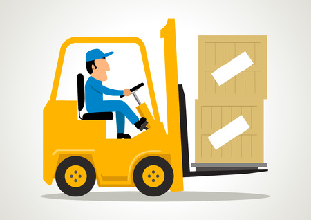 Simple cartoon of a man driving a forklift
