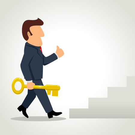 Simple cartoon of a businessman holding a golden key walking towards the staircase
