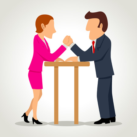 Simple cartoon of a businesswoman arm wrestling with a businessman