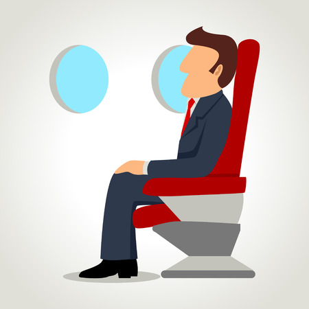 비행기에 실업가의 간단한 만화 일러스트