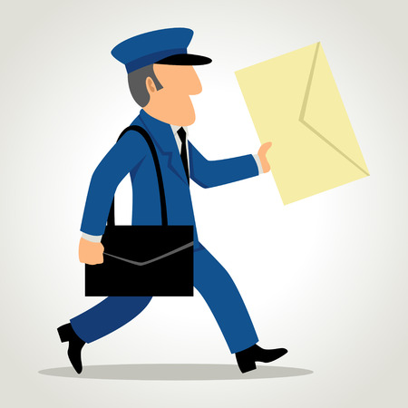 the postman: Simple caricatura de un cartero que entrega el correo