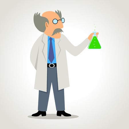 Simple cartoon of a chemist holding a flask of formula Vector