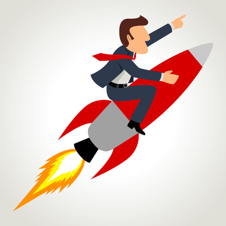 Simple cartoon of a businessman on a rocket Ilustração