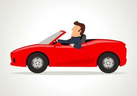 Simple cartoon of a businessman driving a sport car