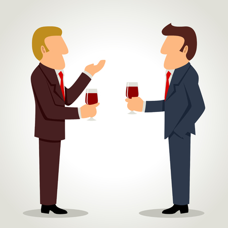 Simple cartoon of businessmen talking with each other