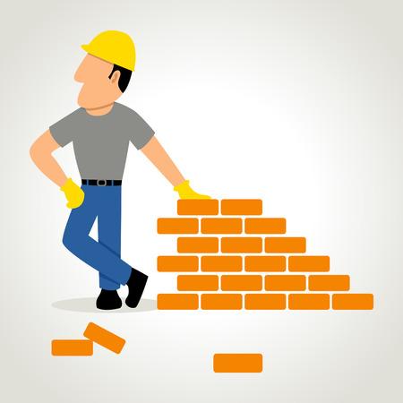Simple cartoon of a builder with bricks Vector