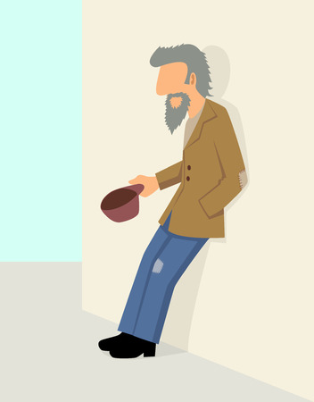 homelessness: Simple cartoon of a beggar beg for money