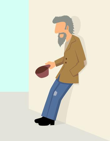 man begging: Simple cartoon of a beggar beg for money