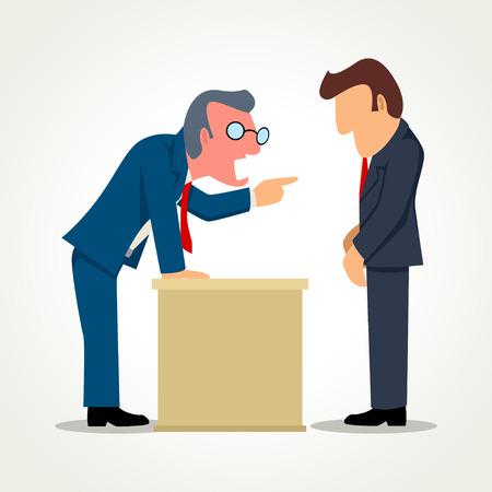 Eenvoudige cartoon van een baas boos op zijn ondergeschikte