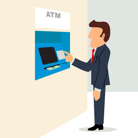 automatic teller machine bank: Simple cartoon of a businessman using an ATM