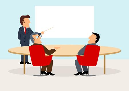 Simple cartoon of businessmen having a meeting Illustration