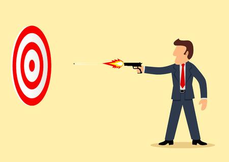 Simple cartoon of a businessman shooting a target Vector