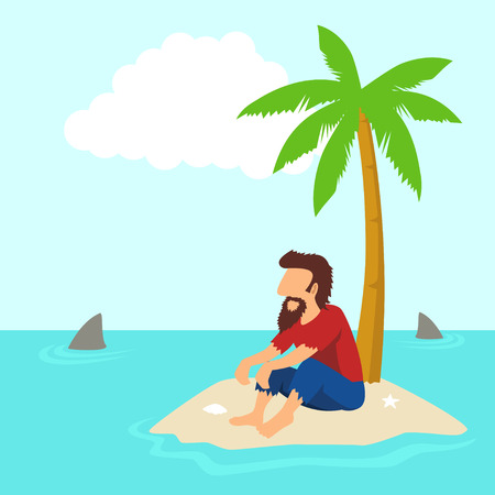 castaway: Simple cartoon of a man figure isolated on an island