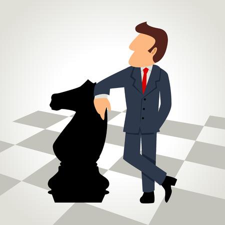 chess knight: Un hombre de negocios con una pieza de caballo de ajedrez