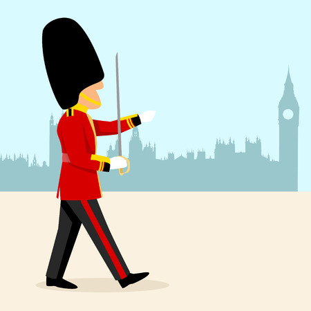 regiment: Simple cartoon of an English Royal Guard