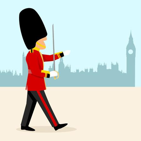 Simple cartoon of an English Royal Guard
