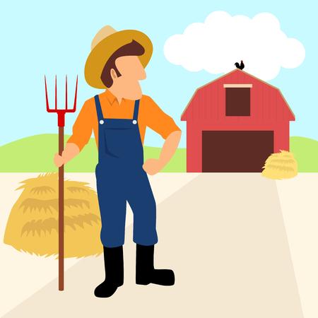 hayfield: Simple cartoon of a farmer and his barn