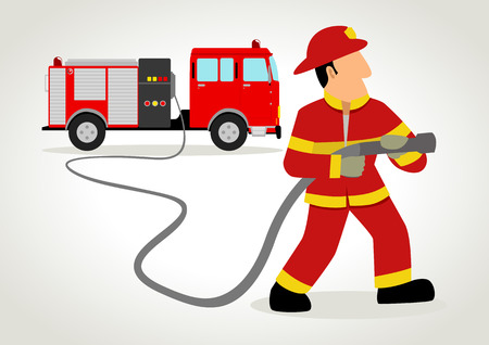 hoses: Cartoon illustration of a firefighter