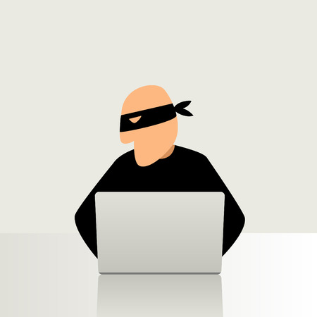 Simple cartoon of a computer hacker Çizim