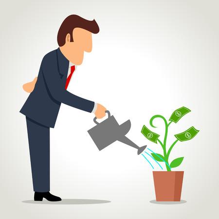 돈을 식물을 급수하는 사업가의 간단한 만화 일러스트
