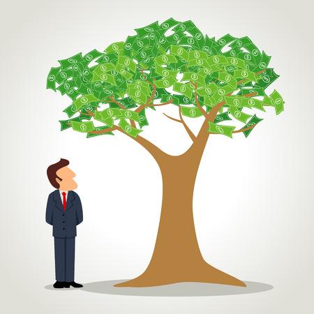 arboles frutales: De simple caricatura de un hombre de negocios de pie al lado del �rbol de dinero