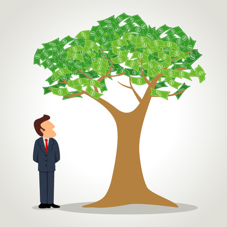 Simple cartoon of a businessman standing next to the money tree