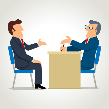 Simple cartoon of a man being interviewed