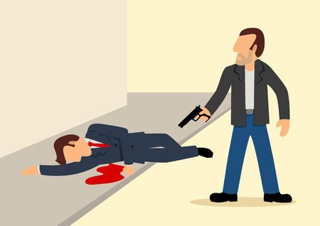 character assassination: Simple illustration of a man had been shot down Illustration