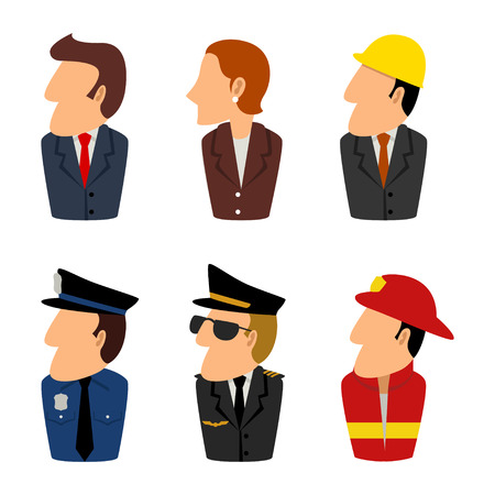 policia caricatura: Ilustraci�n de dibujos animados de avatar para personas ocupaci�n